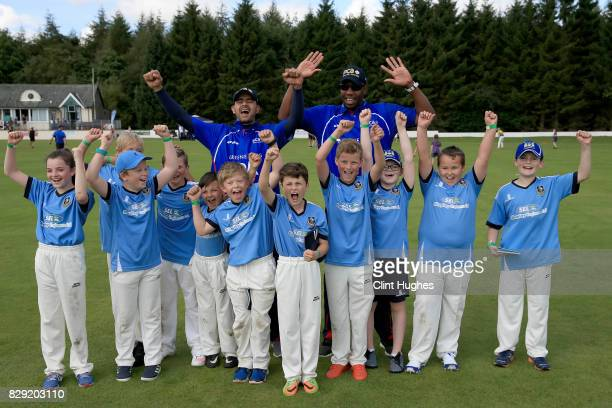 Owais Shah and Alex Tudorpose for a photo during the PCA England Masters Day at Cockermouth Cricket Club on August 10, 2017 in Cockermouth, England.