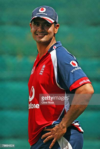 Owais Shah looks on during an England nets session at Seddon Park on February 11 2008 in Hamilton New Zealand