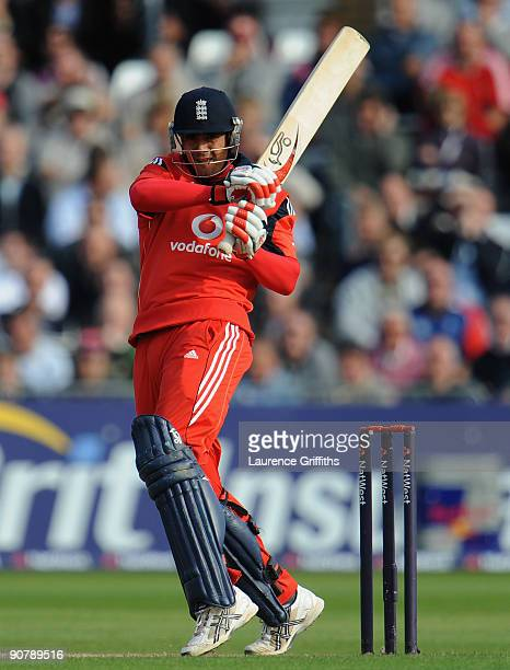 Owais Shah of England hits out to the boundary during the 5th NatWest ODI match between England and Australia at Trent Bridge on September 15 2009 in...