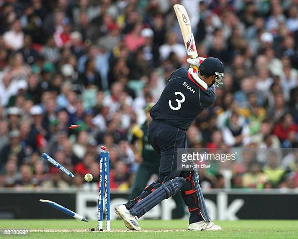 Owais Shah of England is bowled by Umar Gul of Pakistan during the ICC Twenty20 World Cup match between England and Pakistan at The Brit Oval on June...