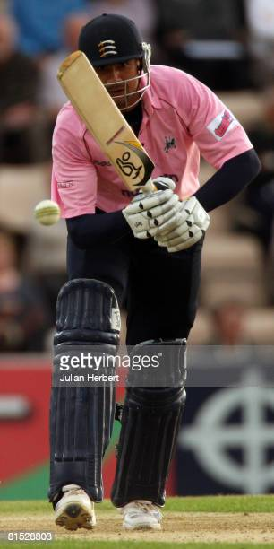 Owais Shah of The Middlesex Crusaders hits out during the Twenty20 Cup match between Hampshire Hawks and Middlesex Crusaders at The Rose Bowl on June...
