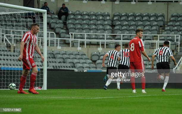 Owen Bailey of Newcastle United celebrates after he scores the opening goal during the Premier League 2 Match between Newcastle United and Sunderland...