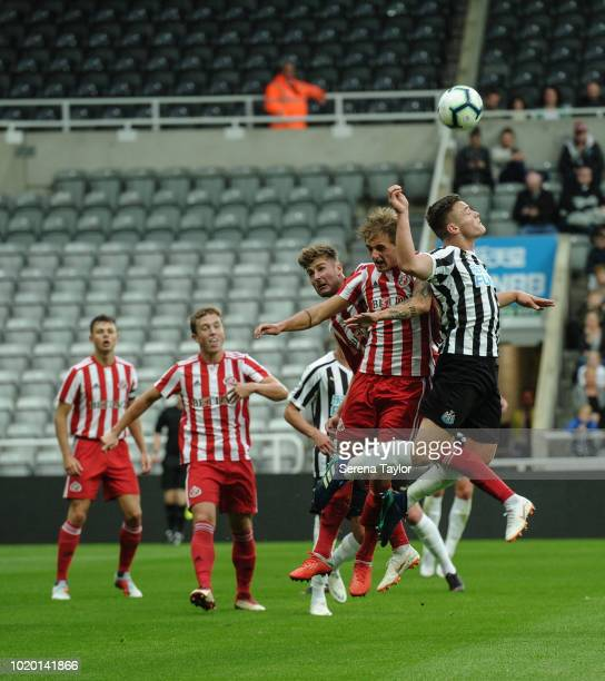 Owen Bailey of Newcastle United jumps high to head the ball during the Premier League 2 Match between Newcastle United and Sunderland at StJames Park...