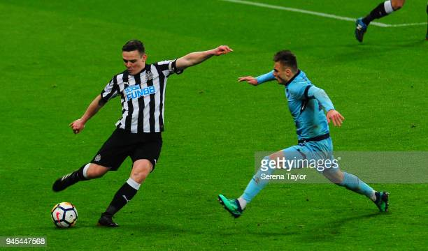 Owen Bailey of Newcastle United passes the ball during the Premier League International Cup match between Newcastle United and Porto at StJames' Park...