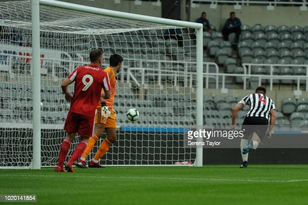 Owen Bailey of Newcastle United scores the opening goal during the Premier League 2 Match between Newcastle United and Sunderland at StJames Park on...