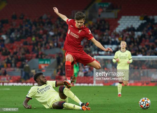 Owen Beck of Liverpool and Ryan Alebiosu of Arsenal in action during the PL2 game at Anfield on October 16, 2021 in Liverpool, England.