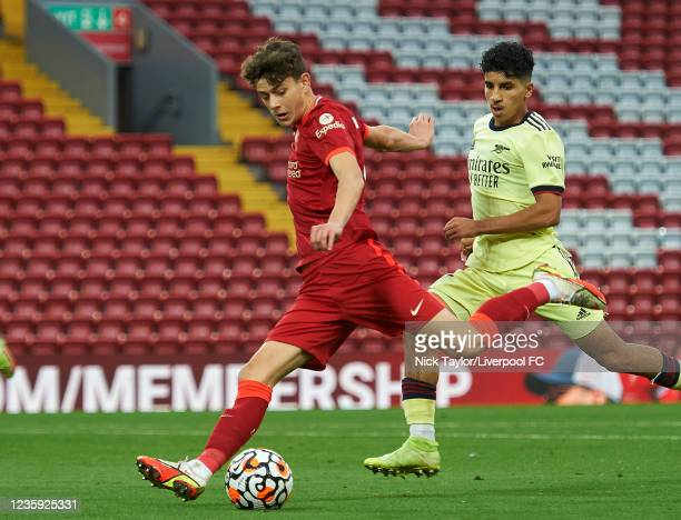 Owen Beck of Liverpool in action during the PL2 game at Anfield on October 16, 2021 in Liverpool, England.