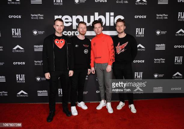 Owen Cardiff Jimmy Rainsford Ryan Hennessy and Cliff Deane of Picture This attend Republic Records Grammy after party at Spring Place Beverly Hills...