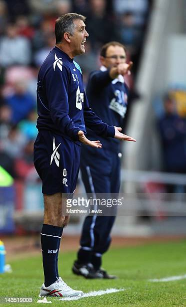 Owen Coyle manager of Bolton Wanderers gives out instructions during the Barclays Premier League match between Sunderland and Bolton Wanderers at...