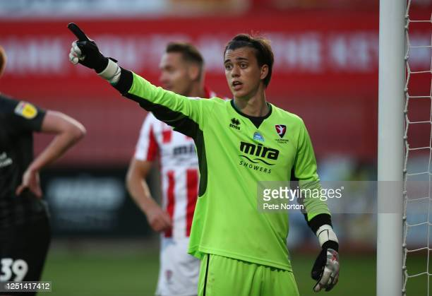 Owen Evans of Cheltenham Town in action during the Sky Bet League Two Play Off Semifinal 2nd Leg match between Cheltenham Town and Northampton Town...