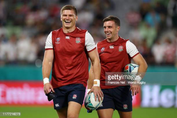 Owen Farrell and George Ford of England react prior to the Rugby World Cup 2019 Group C game between England and USA at Kobe Misaki Stadium on...