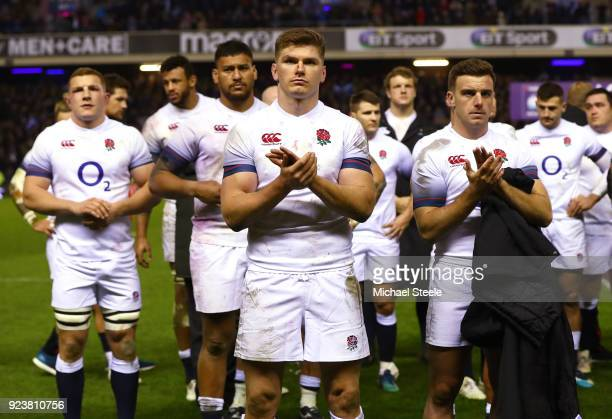 Owen Farrell and George Ford of England show their dissapointment after defeat in the NatWest Six Nations match between Scotland and England at...