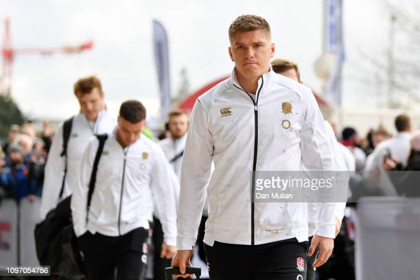 Owen Farrell and team mate arrive prior to the Guinness Six Nations match between England and France at Twickenham Stadium on February 10 2019 in...