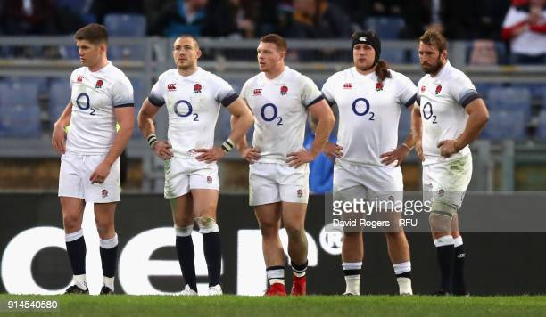 Owen Farrell Mike Brown Sam Underhill Harry Williams and Chris Robshaw look on during the NatWest Six Nations match between Italy and England at...