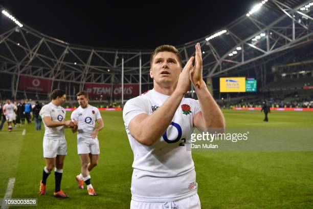 Owen Farrell of England applauds fans following victory in the Guinness Six Nations between Ireland and England at Aviva Stadium on February 2 2019...