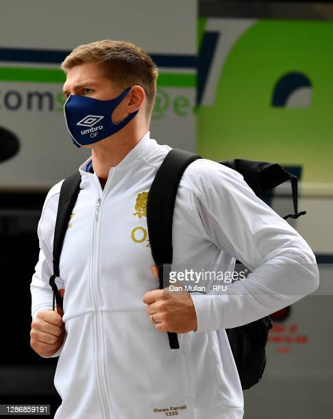 Owen Farrell of England arrives ahead of the England v Ireland Quilter International match, part of the Autumn Nations Cup at Twickenham Stadium on...
