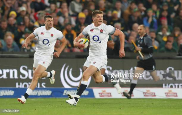 Owen Farrell of England breaks clear to score their third try during the first test between and South Africa and England at Ellis Park on June 9 2018...