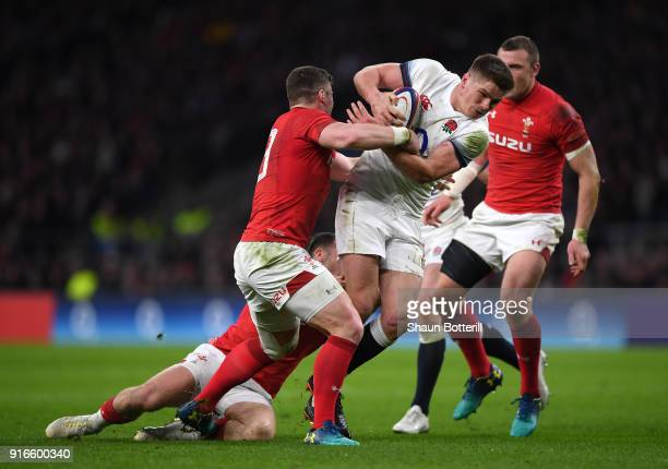 Owen Farrell of England breaks through the Welsh defence during the NatWest Six Nations round two match between England and Wales at Twickenham...