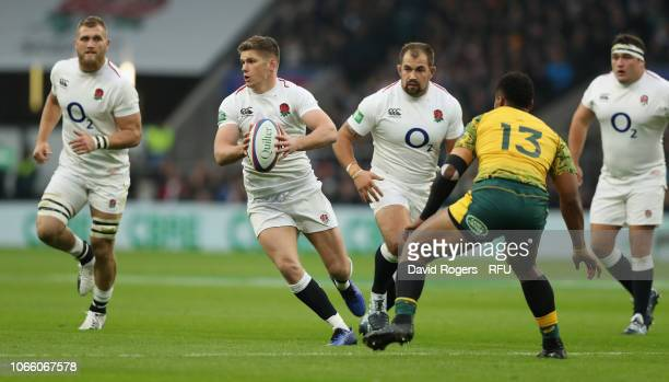 Owen Farrell of England breaks with the ball during the Quilter International match between England and Australia on November 24 2018 in London...