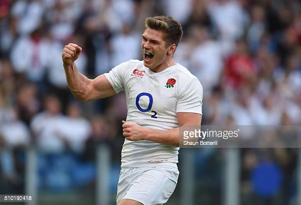 Owen Farrell of England celebrates after scoring his team's fifth try during the RBS Six Nations match between Italy and England at the Stadio...
