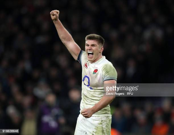 Owen Farrell of England celebrates on the final whistle following the NatWest Six Nations round two match between England and Wales at Twickenham...