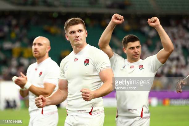 Owen Farrell of England celebrates victory after the Rugby World Cup 2019 Quarter Final match between England and Australia at Oita Stadium on...