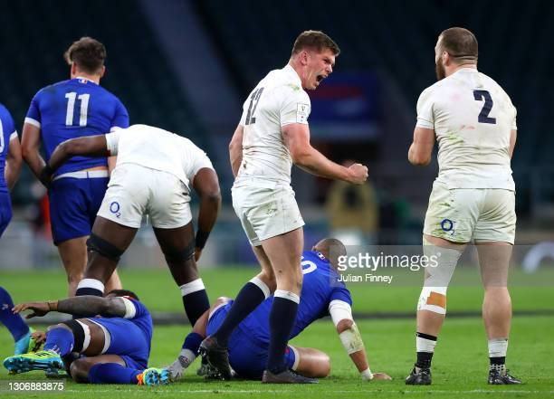 Owen Farrell of England celebrates with Luke Cowan-Dickie after a turnover during the Guinness Six Nations match between England and France at...