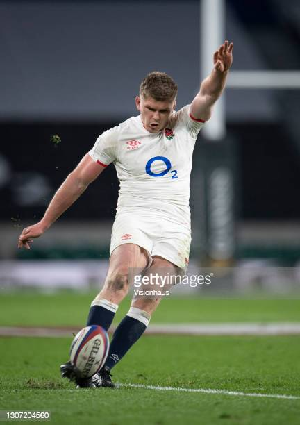 Owen Farrell of England during the Guinness Six Nations match between England and France at Twickenham Stadium on March 13, 2021 in London, England....