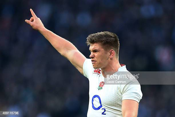 Owen Farrell of England gestures during the QBE Intenational match between England and South Africa at Twickenham Stadium on November 15, 2014 in...