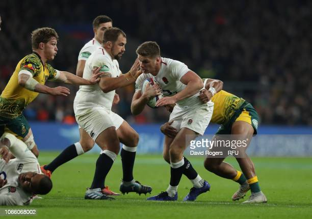 Owen Farrell of England holds onto the ball during the Quilter International match between England and Australia on November 24 2018 in London United...