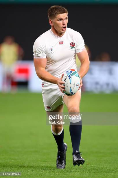 Owen Farrell of England in action during the Rugby World Cup 2019 Group C game between England and Tonga at Sapporo Dome on September 22 2019 in...