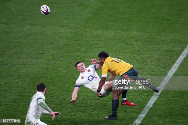 Owen Farrell of England is tackled by Samu Kerevi of Australia during the Old Mutual Wealth Series match between England and Australia at Twickenham...