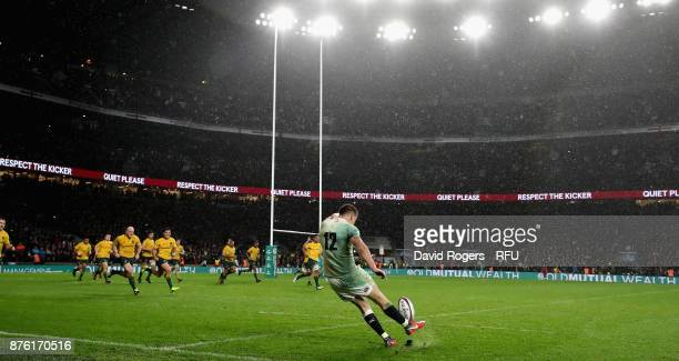 Owen Farrell of England kicks a conversion during the Old Mutual Wealth Series international match between England and Australia at Twickenham...
