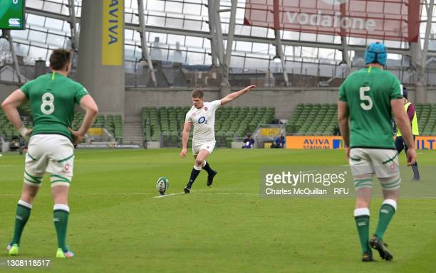 Owen Farrell of England kicks a penalty during the Guinness Six Nations match between Ireland and England at Aviva Stadium on March 20, 2021 in...