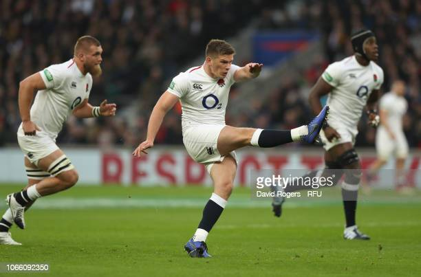 Owen Farrell of England kicks a penalty during the Quilter International match between England and Australia on November 24 2018 in London United...