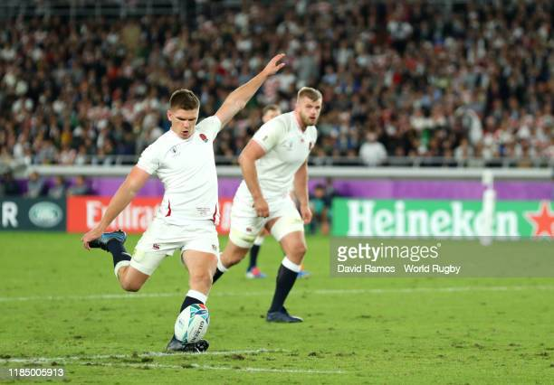 Owen Farrell of England kicks a penalty during the Rugby World Cup 2019 Final between England and South Africa at International Stadium Yokohama on...