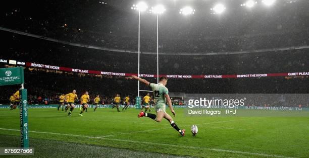 Owen Farrell of England kicks at goal during the Old Mutual Wealth Series international match between England and Australia at Twickenham Stadium on...