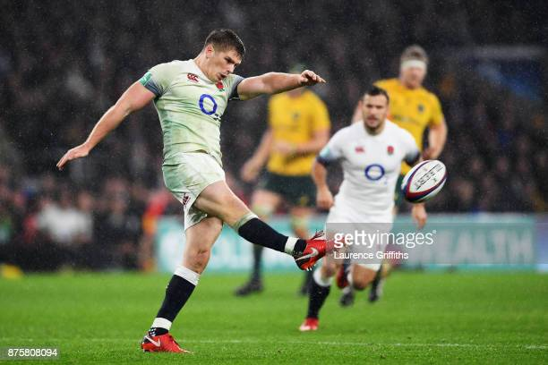 Owen Farrell of England kicks during the Old Mutual Wealth Series match between England and Australia at Twickenham Stadium on November 18 2017 in...