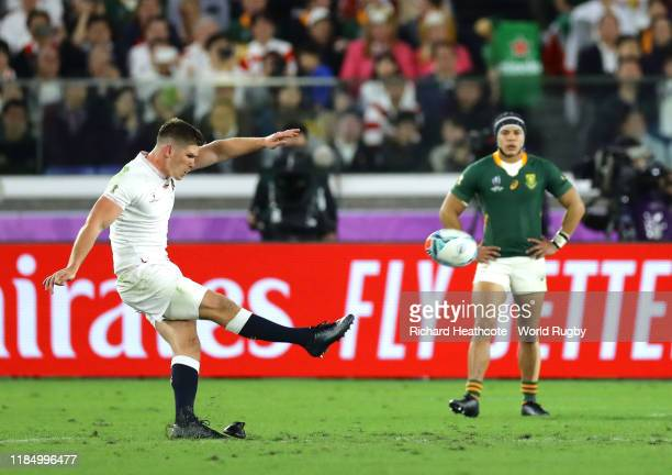 Owen Farrell of England kicks his sides first penalty during the Rugby World Cup 2019 Final between England and South Africa at International Stadium...