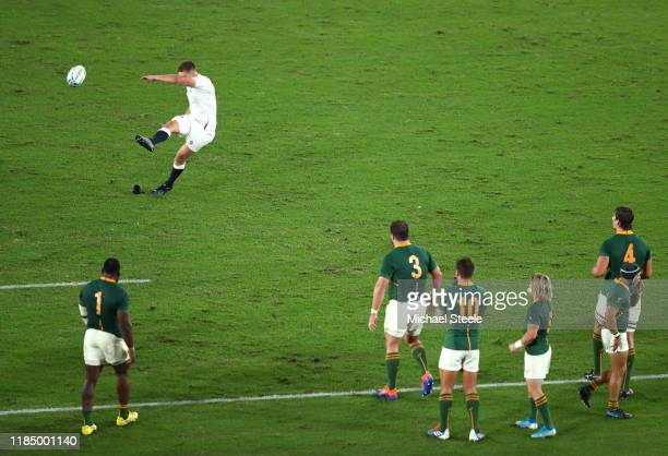 Owen Farrell of England kicks to score his team's second penalty during the Rugby World Cup 2019 Final between England and South Africa at...