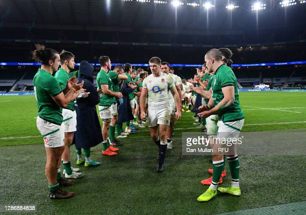 Owen Farrell of England leads his team through the Ireland applause after the England v Ireland Quilter International match, part of the Autumn...