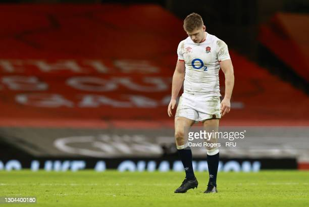 Owen Farrell of England looks dejected during the Guinness Six Nations match between Wales and England at Principality Stadium on February 27, 2021...