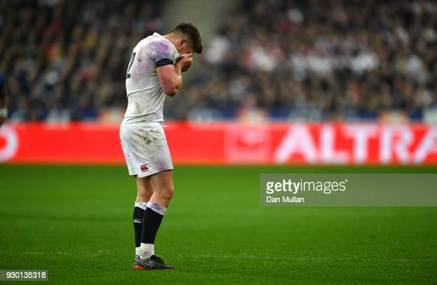Owen Farrell of England looks dejected during the NatWest Six Nations match between France and England at Stade de France on March 10 2018 in Paris...