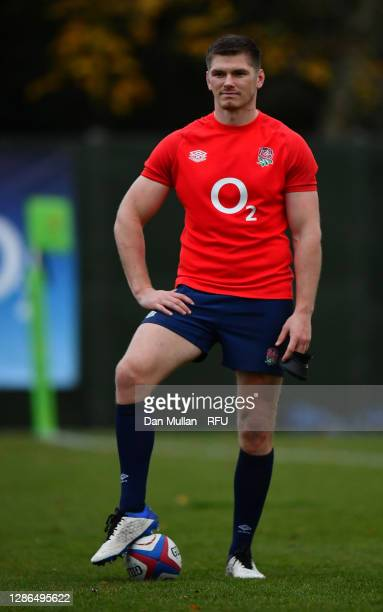 Owen Farrell of England looks on during a training session at The Lensbury on November 18, 2020 in Teddington, England.