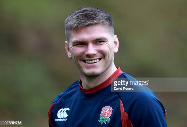 Owen Farrell of England looks on during an England training session at Pennyhill Park on February 19, 2020 in Bagshot, England.