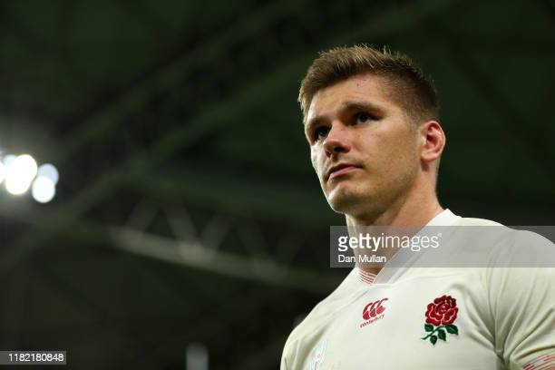 Owen Farrell of England looks on following the Rugby World Cup 2019 Quarter Final match between England and Australia at Oita Stadium on October 19...