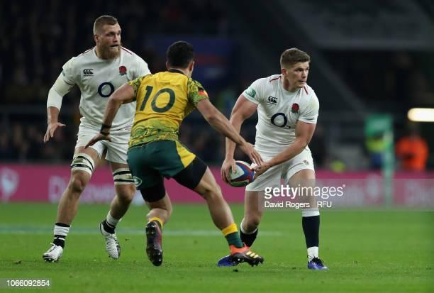 Owen Farrell of England looks to pass the ball during the Quilter International match between England and Australia on November 24 2018 in London...