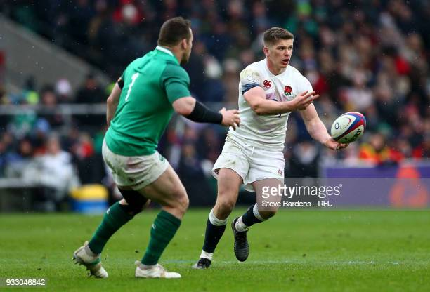 Owen Farrell of England passes the ball during the NatWest Six Nations match between England and Ireland at Twickenham Stadium on March 17 2018 in...