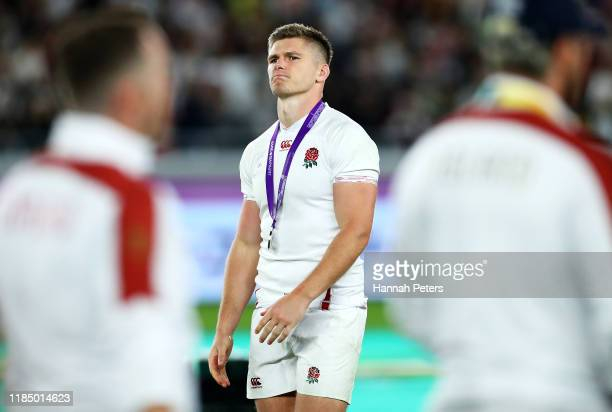 Owen Farrell of England reacts after collecting his runners-up medal after defeat in the Rugby World Cup 2019 Final between England and South Africa...