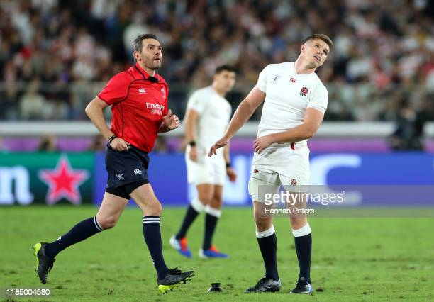 Owen Farrell of England reacts to missing a penalty kick during the Rugby World Cup 2019 Final between England and South Africa at International...